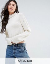 Asos Tall Chunky Jumper In Crop With High Neck