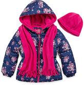 Pink Platinum Heavyweight Floral Puffer Jacket - Girls-Preschool