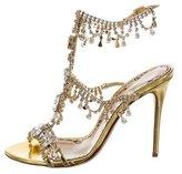 Marchesa 2016 Jewel-Embellished Metallic Sandals w/ Tags