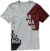 Armani Exchange Slim-Fit Color Block Short-Sleeve V-Neck Tee