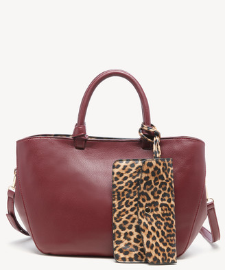 Sole Society Women's Reese Tote Faux Leather Leopard Fuax From