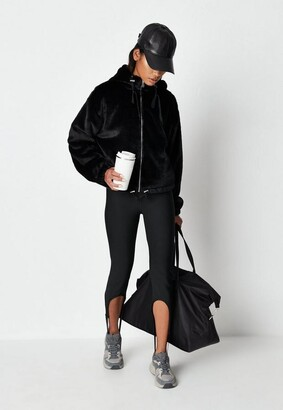 Missguided Black Faux Fur Hooded Bomber Jacket