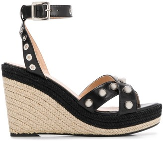 Mulberry Embellished Espadrille Wedge Sandals