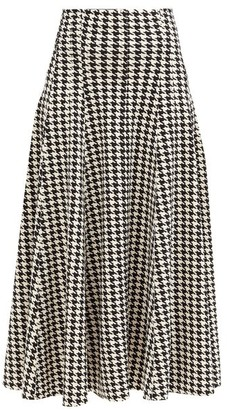 Norma Kamali Grace Houndstooth-print Flared Jersey Skirt - Black/white