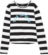 The Upside Martina Striped Cotton-jersey Top - Black