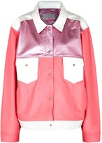 The Mighty Company The Beverley Pink And White Leather Jacket