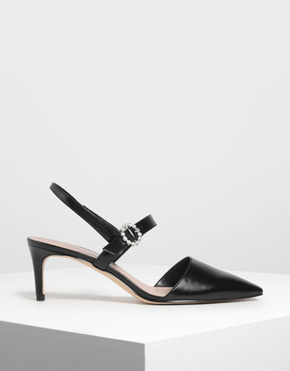 Charles & Keith Metallic Mary Jane Slingback Pumps