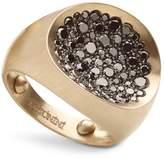 Antonini Matte 18K White Gold Matera Large Pave Black Diamond Ring