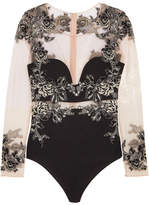 La Perla Peony Embroidered Tulle And Stretch-silk Georgette Bodysuit - Black