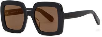 Courreges Black Oversized Sunglasses