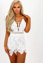Pink Boutique Lace Lover White Crochet Lace Up Playsuit
