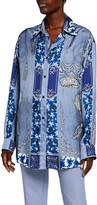 Etro Silk Panel Floral Tassel Print Button-Down Shirt