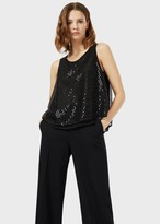 Emporio Armani Tulle Top Covered In Beads And Sequins