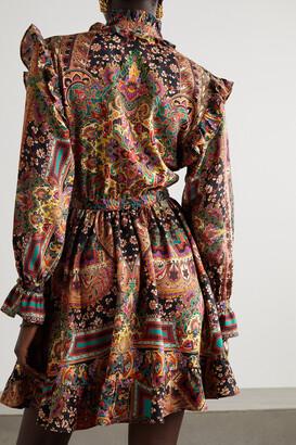 Etro Ruffled Paisley-print Wool And Silk-blend Mini Dress - Orange