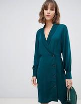 Vero Moda mini wrap button through dress in blue