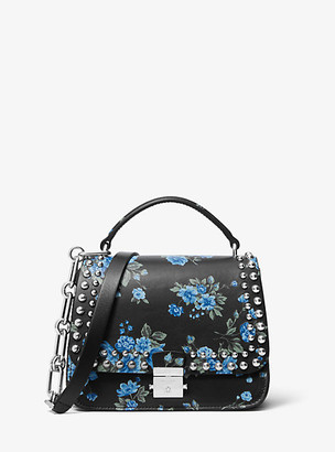 Michael Kors Mia Small Floral Calf Leather Shoulder Satchel - Cornflower