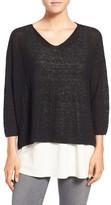 Eileen Fisher Lightweight Organic Linen Knit V-Neck Top
