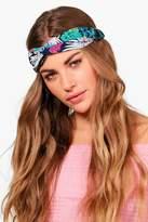 boohoo Louisa Floral Blue Turban Headband blue