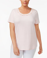 Karen Scott Plus Size Cotton Braided-Trim Top, Created for Macy's