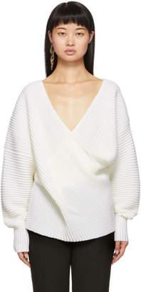 Victoria Victoria Beckham White Drape Front V-Neck Sweater