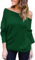 Suvotimo Women Casual Off Shoulder Batwing Sleeve Knit Cardigan Sweater Tops M
