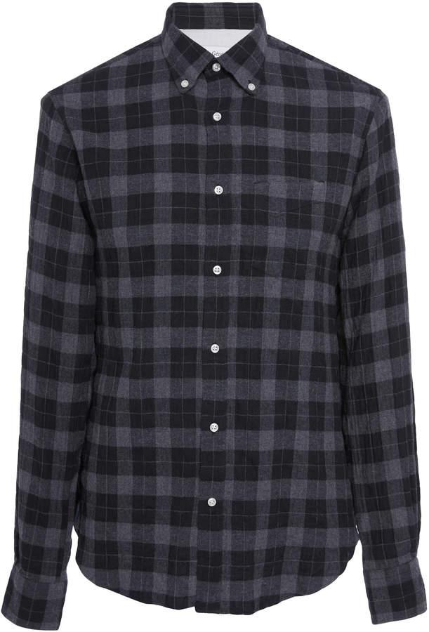 Officine Generale Japanese Dark Plaid Button-Down Shirt