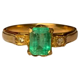 Non Signã© / Unsigned Emeraude Green Pink gold Rings