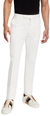 Ermenegildo Zegna Men's Trim-Fit Garment-Dyed Cotton-Linen Chino Pants