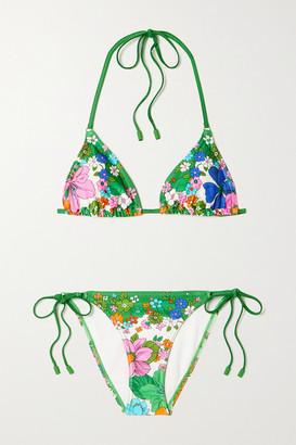 Zimmermann Riders Floral-print Triangle Halterneck Bikini