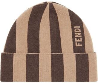 Fendi Cashmere Striped Beanie