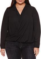 Boutique + + Long Sleeve Draped Neck Woven Blouse-Plus