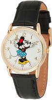 Disney Princess Disney Minnie Mouse Womens Black Leather Strap Watch-Wds000410