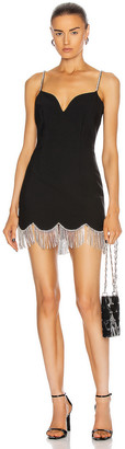 Area Crystal Scallop Fringe Sweetheart Dress in Black & Clear | FWRD