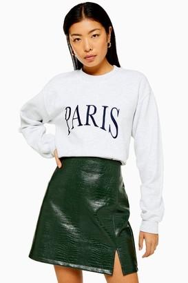 Topshop Womens Grey Paris Embroidered Sweatshirt - Grey Marl