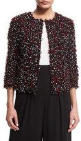 St. John Polka-Dot Ribbon-Tweed Jacket, Caviar/Multi