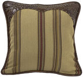 HIEND ACCENTS HiEnd Accents Ruidoso Faux-Leather Trimmed Square Striped Decorative Pillow