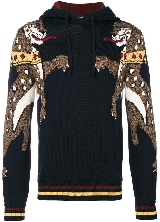 Dolce & Gabbana leopard intarsia knit hoodie