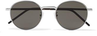 Saint Laurent Round-Frame Silver-Tone Metal Sunglasses