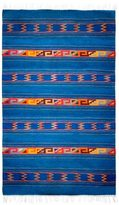 Novica Warror Life Blue with Multicolors Striped Geometric Pattern 100% Wool Handmade Decor Accent Mexican Zapotec Area Rug (4x6)