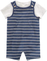First Impressions 2-Pc. T-Shirt & Herringbone Shortall Set, Baby Boys, Created for Macy's
