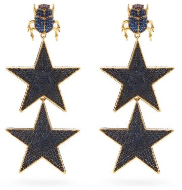 Thumbnail for your product : BEGÜM KHAN Scarab Superstellar 24kt Gold-plated Clip Earrings - Blue Gold