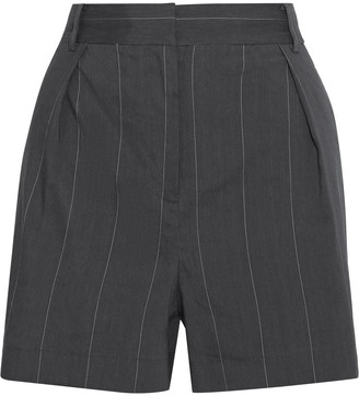 Tibi Isselin Pinstriped Linen-blend Shorts