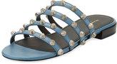 Balenciaga Mini-Studded Leather Slide Flat Sandal