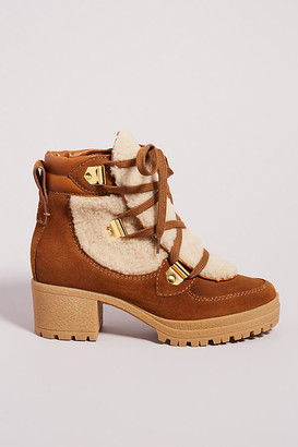 See by Chloe Shearling Lace-Up Boots By in Brown Size 39