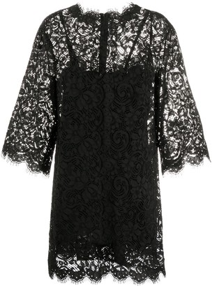 Dolce & Gabbana Box Pleat Lace Dress