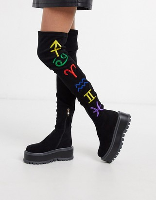 Koi Footwear Zodiac vegan over the knee flatform boot in black