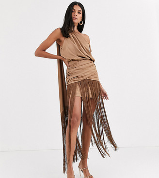 Asos Tall DESIGN Tall one shoulder fringe maxi dress with satin top-Beige