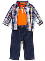 Nautica Baby Boys 12-24 Months Plaid Long-Sleeve Woven Shirt, Solid Tee & Jeans Set