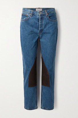 STILL HERE Cowboy Tate Cropped Waxed Canvas-paneled High-rise Straight-leg Jeans - Blue