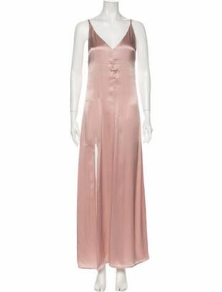 Reformation V-Neck Long Dress Pink